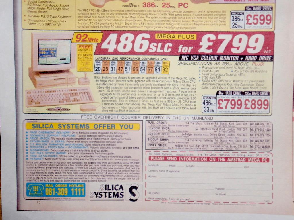 Pubblicita' dell'AMSTRAD Mega PC Plus